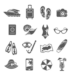 Summer vacation black icons collection vector