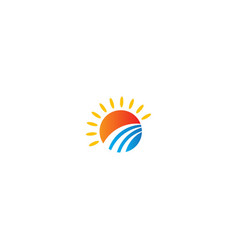 sun shine abstract landscape logo vector image