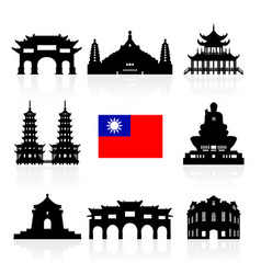 Taiwan icon travel landmarks vector