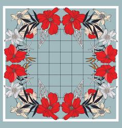 tile floral wrap red bloom navy leavesblue vector image