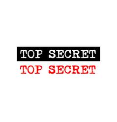 Top secret rubber stamp badge with typewriter set vector