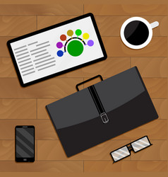 Top view of business activity vector