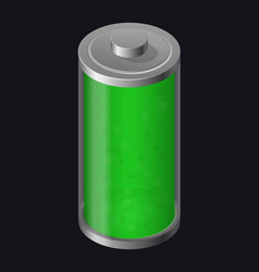 transparent glass battery green color vector image