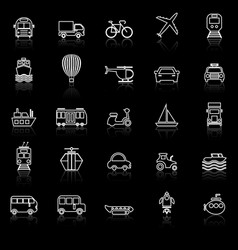 Transportation line icons with reflect on black vector