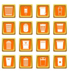 Trash can icons set orange vector