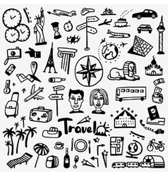 Travel doodles set vector