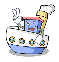 two finger ship character cartoon style vector image