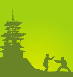 Two men are engaged in a kung fu against the vector image