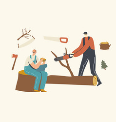 Two men loggers cutting trees and eating lunch vector