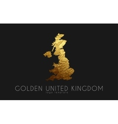 united kingdom map golden kingdom logo vector image