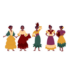 women in traditional national dresses festive vector image
