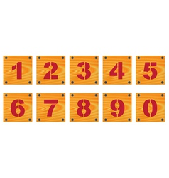 Wooden signs with numbers vector image