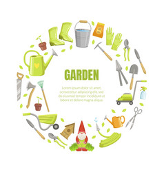 wreath garden tools in gray and green colors vector image
