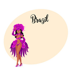 young woman dressed for brazilian carnival in rio vector image