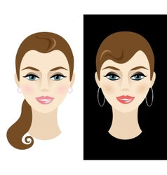 Young woman with daytime and nighttime makeup vector
