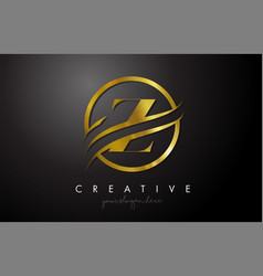 Z golden letter logo design with circle swoosh vector
