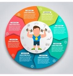 Colorful sport infographic elements sportsmen vector