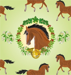 Seamless texture dark Horse head of stallion vector image vector image