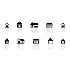 set isolated home with mirror reflection vector image vector image