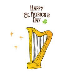 st patricks day hand drawn doodle celtic harp vector image
