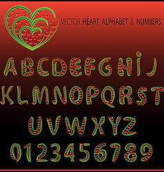 vector heart alphabet and numbers vector image vector image