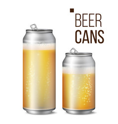 beer cans isolated light bright bubble vector image vector image