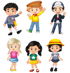boys and girls from different countries vector image vector image