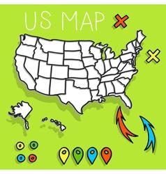 Hand drawn USA map vector image vector image