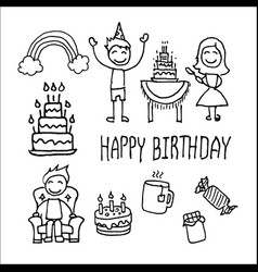happy birthday party elements set vector image vector image