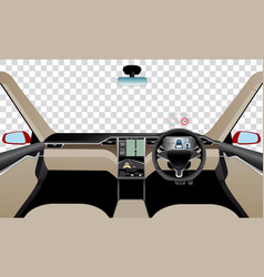 interior of self driving car vector image vector image