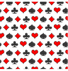 card suits simple line style seamless pattern vector image