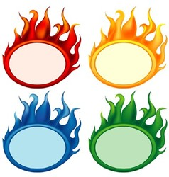 Fire Oval Banners vector image vector image