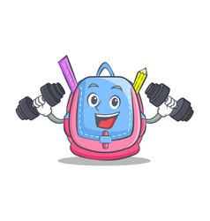 fitness school bag character cartoon vector image