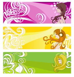 floral elements and women vector image vector image