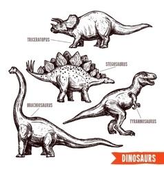 Hand drawn dinosaurs set black doodle vector