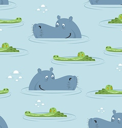 Hippo and crocodile in water seamless pattern Good vector image vector image