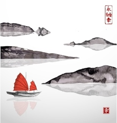 Junk boat with red sails and mountains vector image vector image