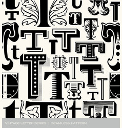Seamless vintage pattern of the letter T vector image vector image