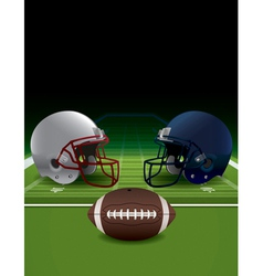 American Football Helmets Ball and Field vector image vector image