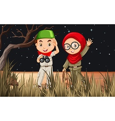 Boy and girl camping out in the field vector