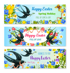 easter holiday banner with spring flower and bird vector image