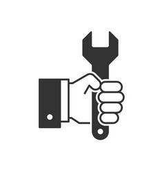 hand holding wrench black icon vector image