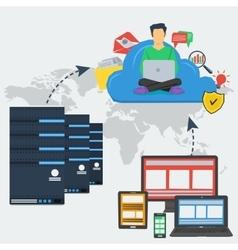 Internet server and cloud storage vector image