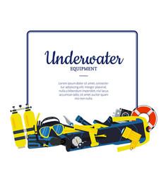 underwater diving elements vector image vector image