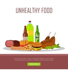 Unhealthy food banner isolated on white vector