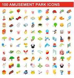 100 amusement park icons set isometric 3d style vector image