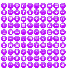 100 electrical engineering icons set purple vector