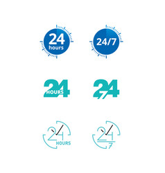 24 hours and 7 days icons set 6 in 1 vector
