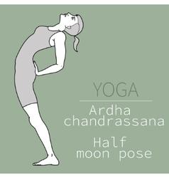 ardha chandrassana half moon pose vector image