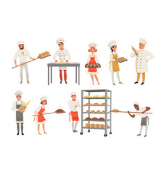 Bakers characters set with bread and cooking tools vector